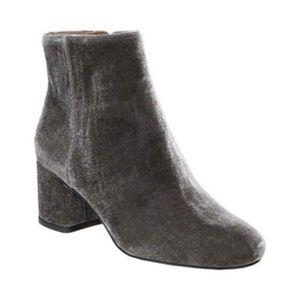 Franco Sarto Jubilee Gray velvet block heel boots